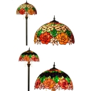 Colorful Blossom Floor Lamp 2 Lights Rustic Stylish Glass Floor Light in Beige/Black for Restaurant