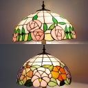 Stained Glass Cloud/Rose Floor Lamp 3 Heads Tiffany Vintage Standing Light for Living Room