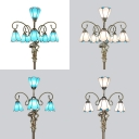 Blue/White Cone Floor Lamp with Girl Decoration 4/6 Heads Standing Light for Living Room