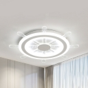 Nautical Style Rudder Flush Mount Light Acrylic LED Ceiling Lamp in Warm/White/Stepless Dimming for Teen