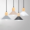 Cone Dining Room Pendant Light Aluminum 1 Head Nordic Stylish Suspension Light in Black/Coffee/Gray/White