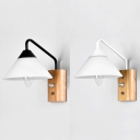 Modern Style Sconce Led Eye-protection Bell Shade Wall Lamp with Nature Wood Base in White/ Black Finish