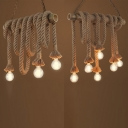 Balcony Cafe Bare Bulb Pendant Light Wood Rope 3/6 Lights Rustic Stylish Beige Hanging Light