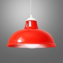 One Light Barn Pendant Light Industrial Metal Hanging Light in Red for Warehouse Cloth Shop