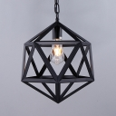 1 Head Cage Pendant Lamp Industrial Metal Height Adjustable Hanging Light in Black for Restaurant
