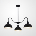 3 Lights Dome Chandelier Vintage Stylish Metal Pendant Light in Black Finish for Dining Room