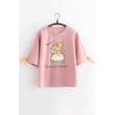 Summer Girls Cartoon Dog Letter WHAT Print Lace-Up Sleeve Loose Casual T-Shirt