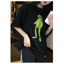 Summer Funny Cartoon Frog Printed Round Neck Oversized Loose T-Shirt for Girls