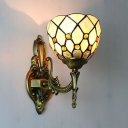 Antique Style Domed Wall Sconce 1 Light Glass Sconce Light in Beige for Bedroom Restaurant