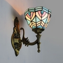 Tiffany Style Sconce Light Dome Shade 1 Light Stained Glass Wall Light for Restaurant