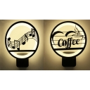 Note/Coffee LED Wall Light Creative Metal Acrylic Sconce Light in Black for Boy Girl Bedroom