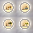Modern White Wall Light with Vase Acrylic Round LED Sconce Light in Warm for Study Room