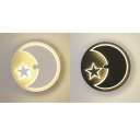 Child Bedroom Round Sconce Light with Moon Star Acrylic Creative Black/White LED Wall Light in Warm