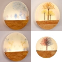 Creative Circle LED Sconce Light Wood Acrylic Wall Light with Beautiful Pattern for Bedroom