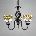 Kitchen Hallway Dome Chandelier Stained Glass 3 Lights Tiffany Style Baroque Pendant Light