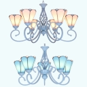 Cone Dining Room Chandelier Light Glass 5 Lights Traditional Pendant Lamp in Blue/White