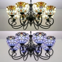 Tiffany Style Victorian Ceiling Light Dome Shade 8 Lights Stained Glass Chandelier in Blue/Yellow for Villa