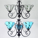 Kitchen Hallway Cone Chandelier Blue/Clear Glass 3 Lights Rustic Ceiling Lamp with Leaf