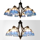 Mediterranean Style Dome Chandelier 6/8 Lights Stained Glass Pendant Lamp in Blue for Dining Room