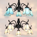 Tiffany Style Cone Chandelier 5 Lights Glass Hanging Light in Blue/White for Dining Room Restaurant