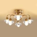 Glass Cylinder Semi Flush Mount Light 6 Lights Antique Style Ceiling Light for Bedroom