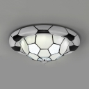 Glass Soccer LED Ceiling Mount Light Kid Bedroom Sport Style Third Gear Dimmable Ceiling Lamp