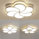 White Flower LED Flush Mount Light Modern Acrylic Ceiling Light with Crystal for Kid Bedroom