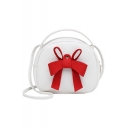 Fashion Plain Bow-knot Embellishment Portable Round Crossbody Bag 19*8*16 CM