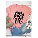 Cartoon Bear Claw LOVE Letter Pink Short Sleeve Round Neck T-Shirt