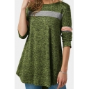 Women's Color Block Long Sleeve Round Neck Green Asymmetric Hem Tee