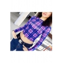 Blue and Purple Plaid Print Round Neck Long Sleeve Ruffle Trim Crop Mesh Tee