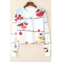 Fashion Women's Cartoon Birds Printed Round Neck Long Sleeve White Cropped Pullover Sweatshirt