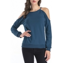Womens Cold Shoulder Long Sleeve Plain Pullover Sweatshirt