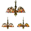 Tiffany Style Dome Chandelier with Dragonfly/Circle/Sunflower Stained Glass Pendant Light for Hotel