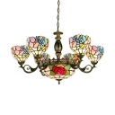 Colorful Flower Pendant Light 9 Lights Tiffany Style Antique Art Glass Chandelier for Living Room