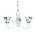 Tiffany Style Nautical Cone Chandelier Glass Metal 3 Lights Blue Hanging Light for Bedroom