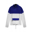 Blue and White Color Block Half-Zif High Neck Long Sleeve Pocket Front Drawstring Hem Fluffy Fleece Sweatshirt