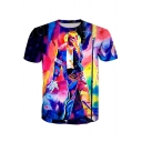 Men's Summer Cool Short Sleeve Round Neck Michael Jackson Character Print Basic T-Shirt