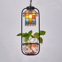 Stained Glass House Suspension Light Restaurant Single Light Tiffany Style Rustic Ceiling Pendant