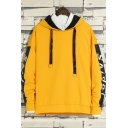 Cool Letter Tape Patched Long Sleeve Drawstring Loose Casual Hoodie