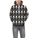 Black and White Allover Skull Printed Regular Casual Unisex Drawstring Hoodie