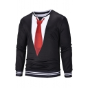 New Stylish Fake Two Pieces Blazer Tie Print Color Block Round Neck Long Sleeve Black Pullover Sweatshirt