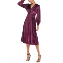 New Trendy Plain Long Sleeve V-Neck Midi Shirt A-Line Velvet Dress For Women