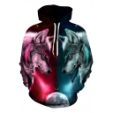 Baseball Style Galaxy Blue and Red Wolf 3D Print Colorblock Long Sleeve Unisex Hoodie