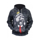 Funny Camouflage Crown Gorilla 3D Print Long Sleeve Unisex Gray Hoodie with Pocket