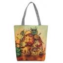 Designer National Style Figure Elephant Floral Printed Brown Canvas Shoulder Bag 27*8*37 CM