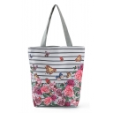 Designer Fashion Floral Butterfly stripe Printed White Canvas Shoulder Bag 27*11*38 CM