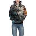 Popular 3D Wolf Printed Drawstring Hood Long Sleeve Dark Gray Unisex Hoodie