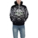 Fashion 3D knife Skull Printed Long Sleeve Casual Black Hoodie