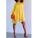 Women's Hot Fashion High Neck Long Sleeve Plain Tide Waist Mini Chiffon Yellow A-Line Dress